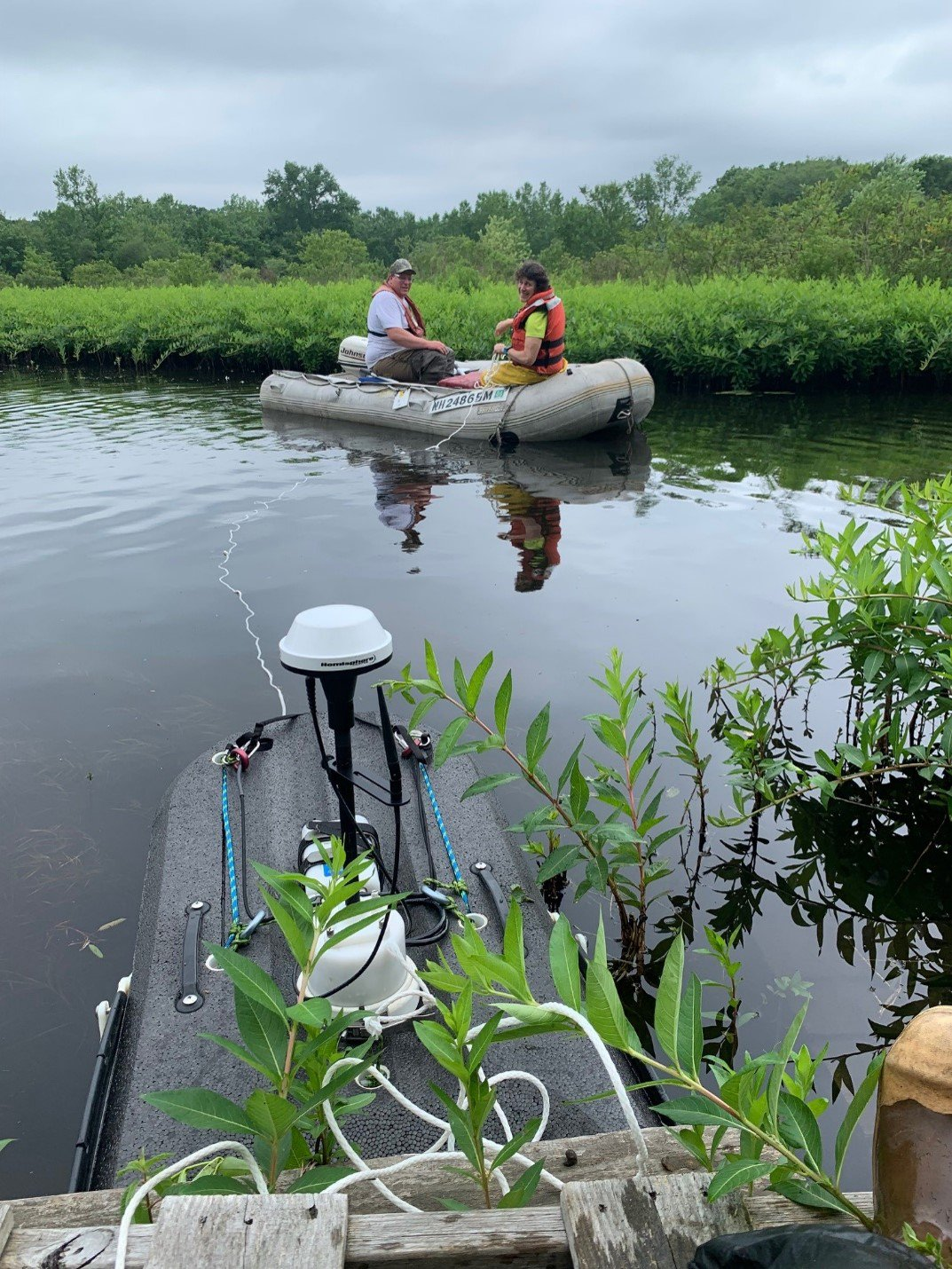 flow sampling equipment in one of the ponds - environmental consulting services firm